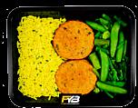 Gelber Reis - Hähnchen Burger - Grüne Gemüsemischung (mit Gewürz) - MASSE