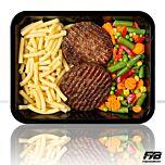 Makkaroni - Rindfleisch Burger - Balkangemüse (mit Gewürz) - MASSE