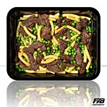 Macaroni - Runderreepjes Teriyaki - Tuinerwten (met kruiden) - BULK