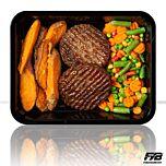 Süßkartoffel-Wedges - Rindfleisch Burger - Balkangemüse (mit Gewürz) [MASSE]
