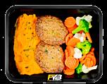 Süßkartoffelpüree - Rindfleisch Burger - Kaisergemüse (mit Gewürz) - MASSE